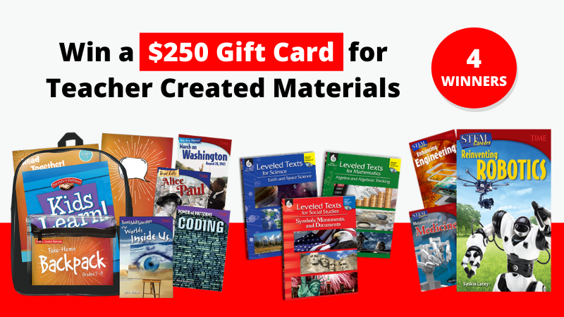 Win a $250 Shopping Spree for Teaching Resources that includes 4 winners that shows many of their resources.
