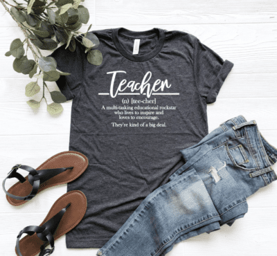 """Teacher shirt saying """"a multitasking educational rockstar who lives to inspire and loves to encourage. They're kind of a big deal."""""""