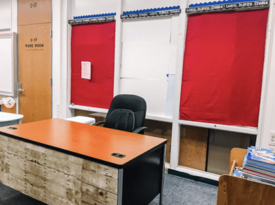 before photo of teacher desk set up