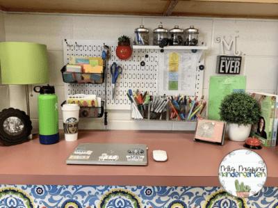Teacher desk pegboard organization