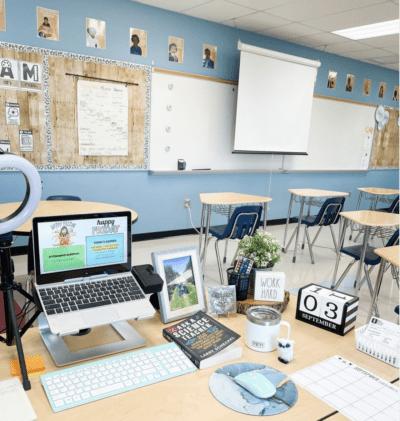Teacher classroom and desk set up