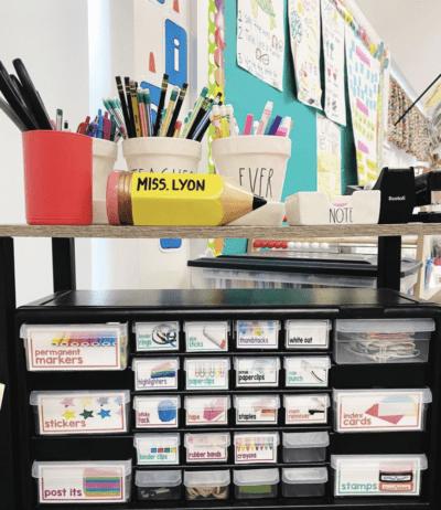 Desk shelf on teacher desk