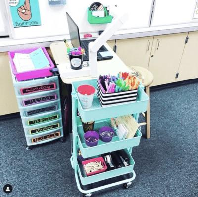 Teacher desk storage cart