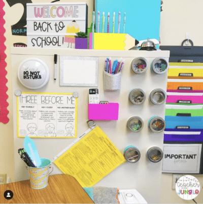 Teacher desk organization on the wall