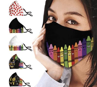 Teacher themed face masks five pack