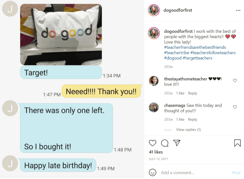 """Chat exchange with a picture of a pillow that says """"do good"""""""