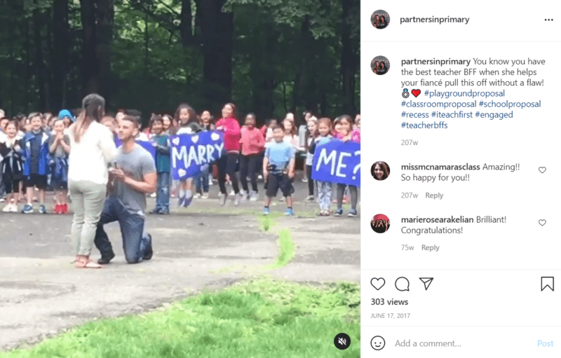 Teacher being proposed to by her boyfriend outside of a school