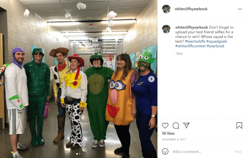 Seven teachers in a hallway dressed as characters from Toy Story