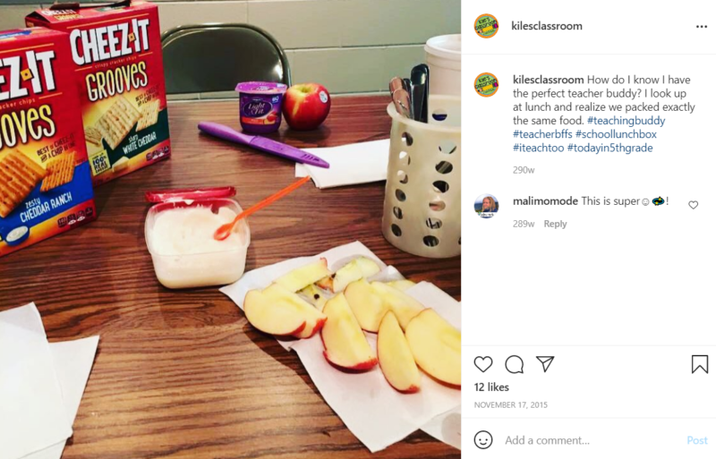 Food on a desk including Cheez-It Grooves and Dannon yogurt