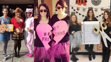 Teachers dressed in Mouse, Moose, and Pig, Best Friend Necklace, and Rock, Paper, Scissors costumes