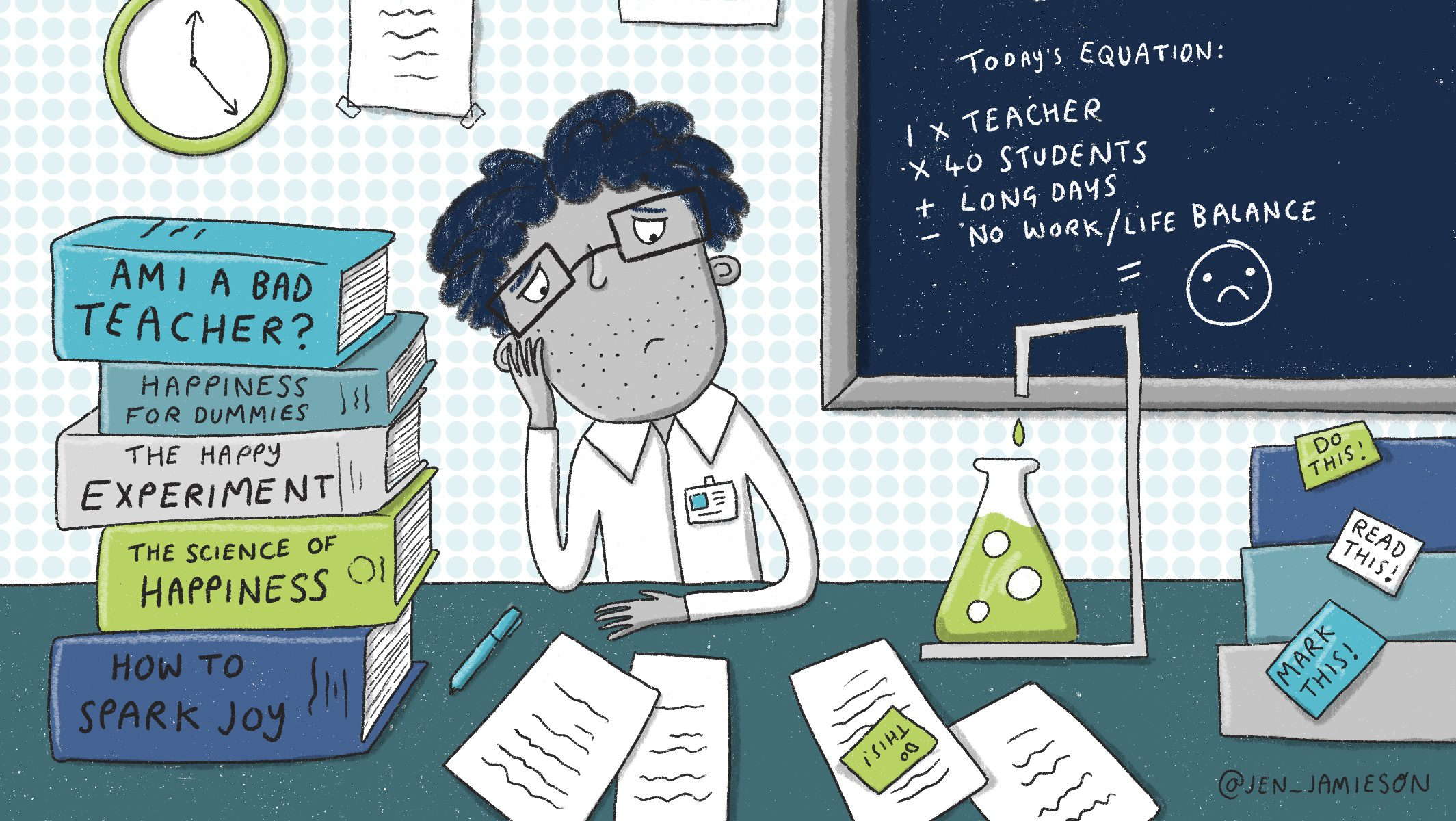 Illustration of a sad science teacher at a lab desk