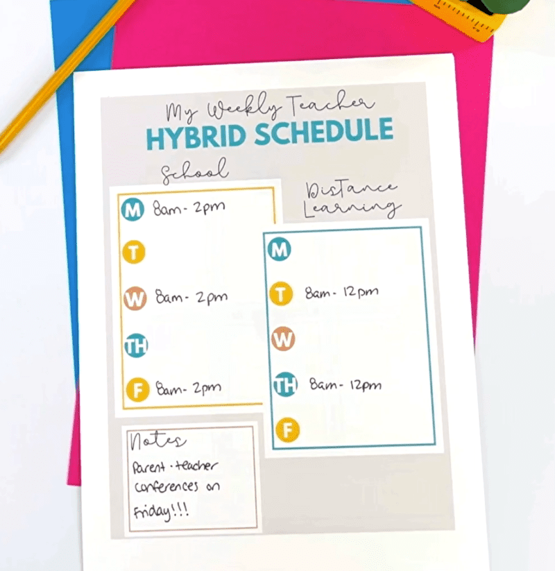 Free weekly teacher to-do printables -- hybrid schedule