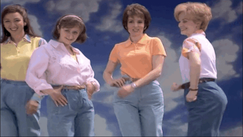 SNK skit of women in jeans
