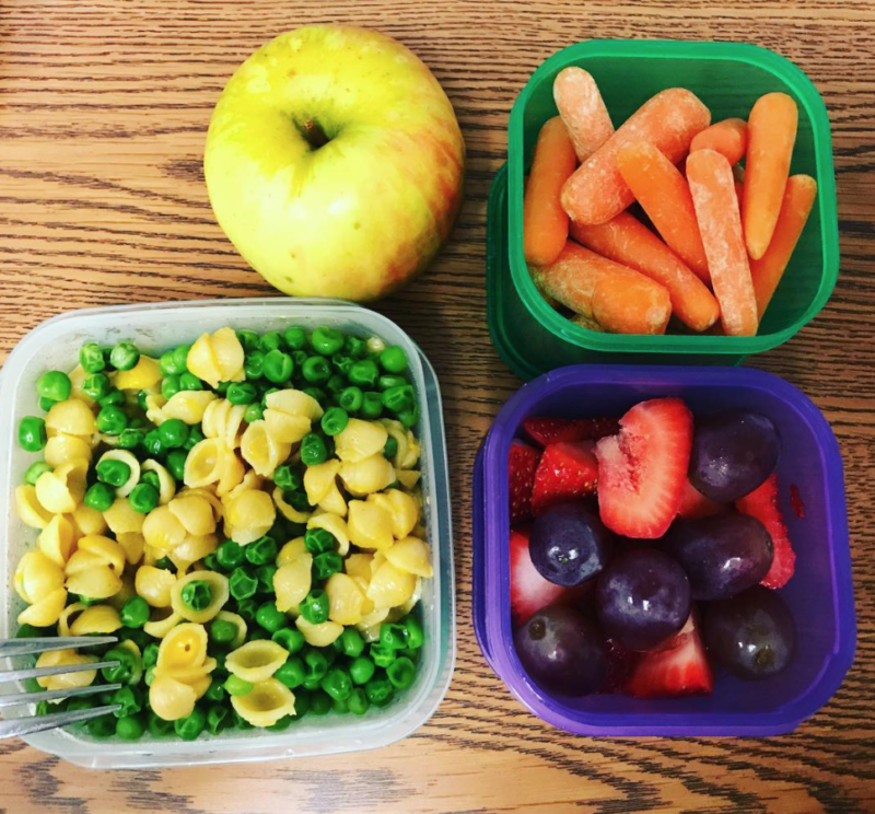 Mac and cheese plus peas, baby carrots, and fruit