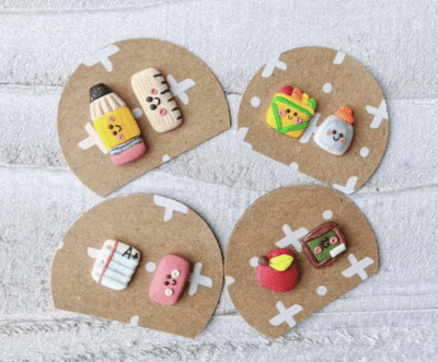 Mix and match earring sets with cute pencil, eraser, apple, glue, crayons