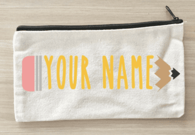 Pencil pouch with teacher name inside pencil design