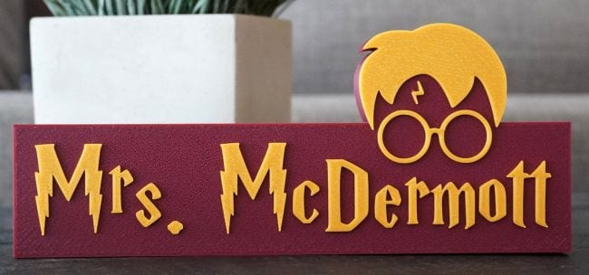 Harry Potter-themed sign saying Mrs McDermott with glasses and lightning symbol