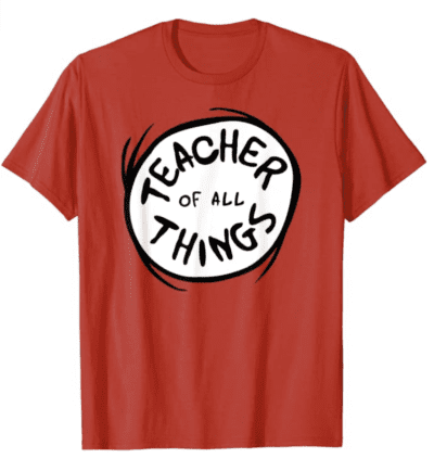 Teacher of all things red tshirt, as an example of teacher t-shirts on Amazon
