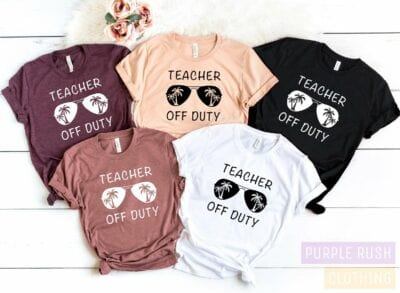 Teacher off duty tshirt with sunglasses and palm trees