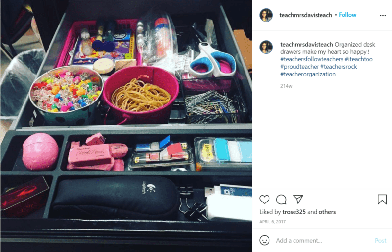 Still of teacher drawer organization