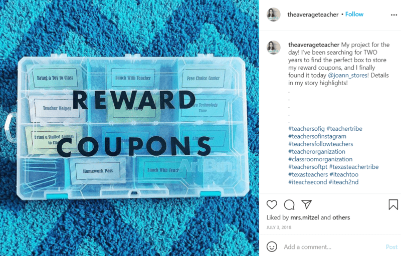 Still of rewards and coupons for the classroom