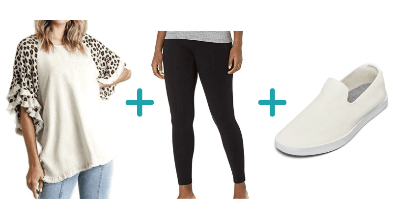 teacher outfits with tunic, leggings, and sneakers