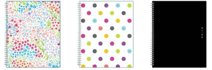 Blue Sky spiral-bound teacher planners with floral, polka dot, and plain black covers