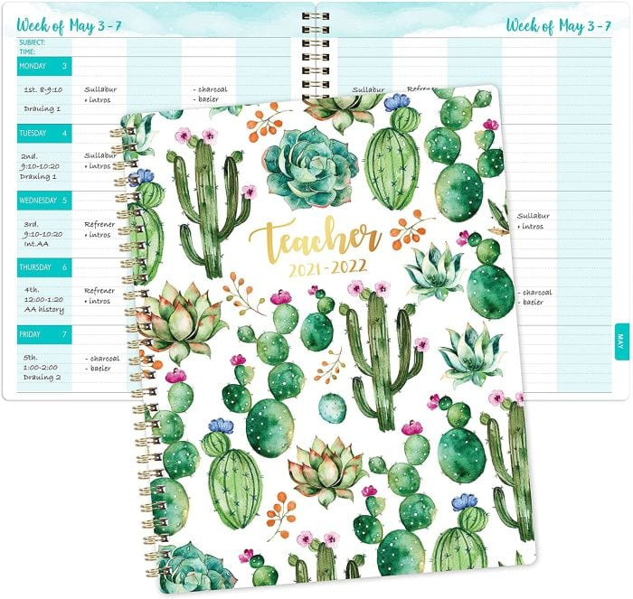 Teacher planner with cactus design on cover, open to show weekly planning spread (Teacher Planners)