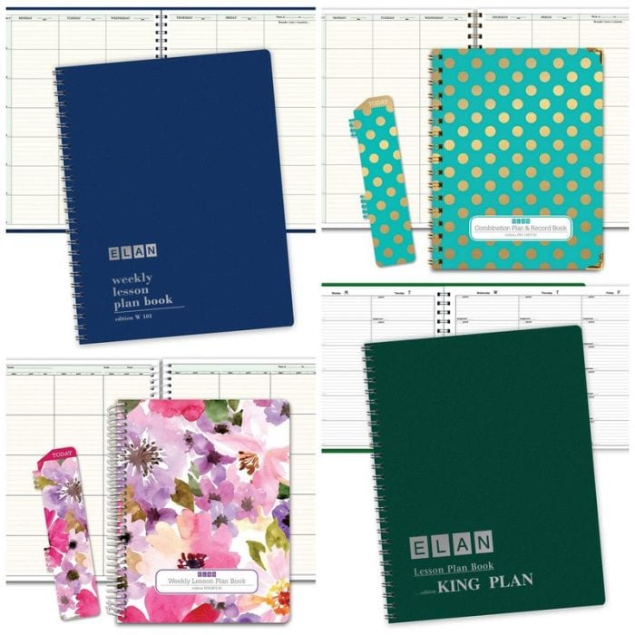 Collage of teacher planners by Elan, including plain blue and green covers and floral prints