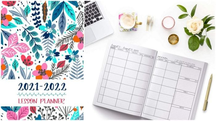 Floral-covered teacher planner with daily spread