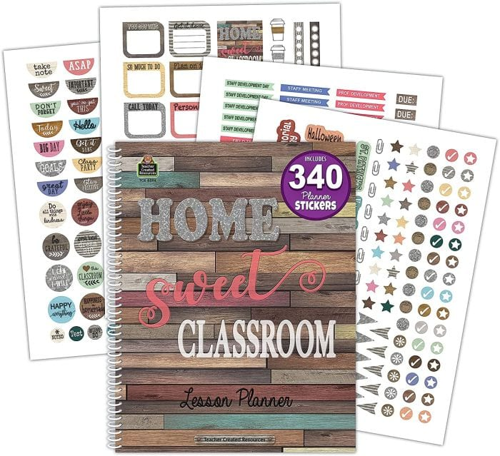 Home Sweet Classroom teacher planner with sticker pages