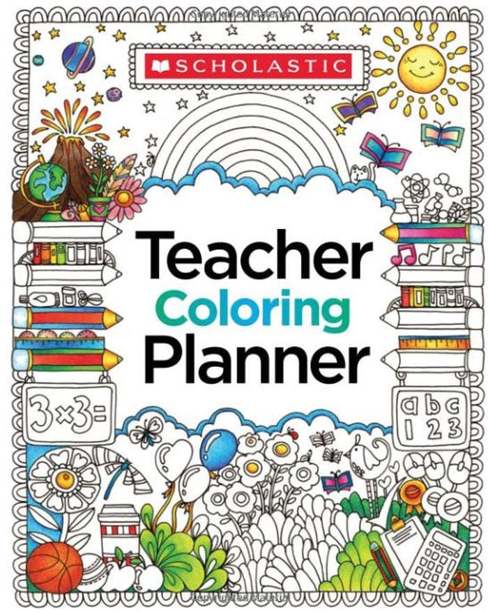 Spiral-bound Teacher Coloring Planner cover