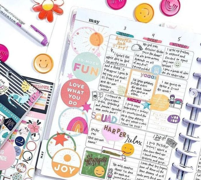Weekly layout of colorful planner pages from The Happy Planner (Teacher Planners)