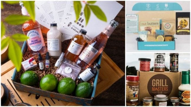 Collage of food and drink subscription boxes