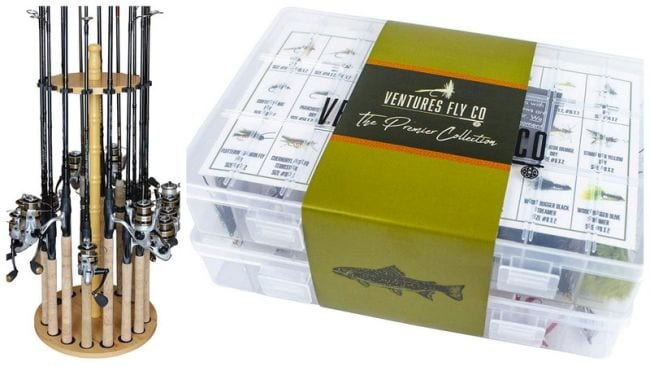 Fishing rod holder and box of hand-tied flies (Teacher Retirement Gifts)