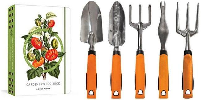 Gardener's Diary and set of orange-handled gardening hand tools