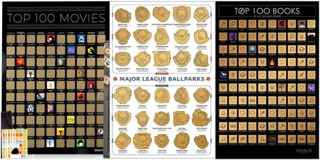 Scratch off posters of top movies, ballparks, and books (Teacher Retirement Gifts)