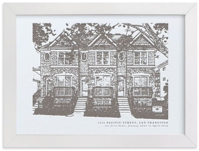 Sketched portrait of a building framed in white (Teacher Retirement Gifts)