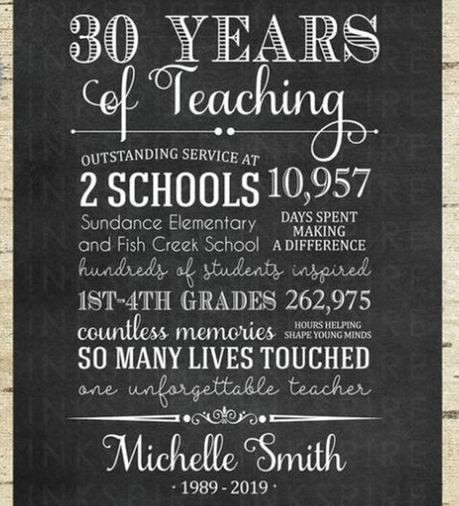Teacher retirement gift sign with personalized details