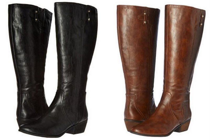 Black and brown Dr Scholl's knee-high boots