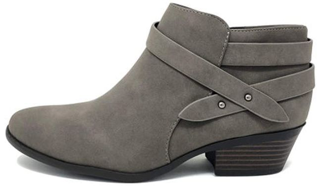 Soda ankle booties with multiple straps in gray suede (Best Teacher Shoes)