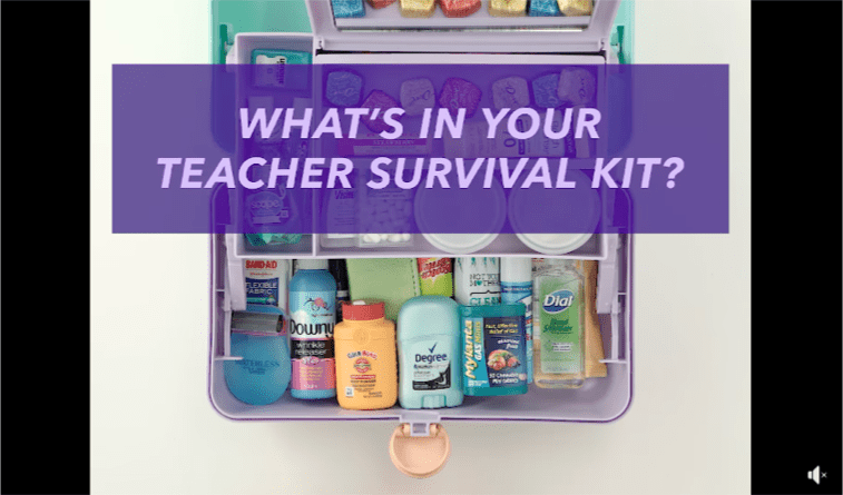 Caddy filled with everything a teacher needs in a Teacher Survival Kit
