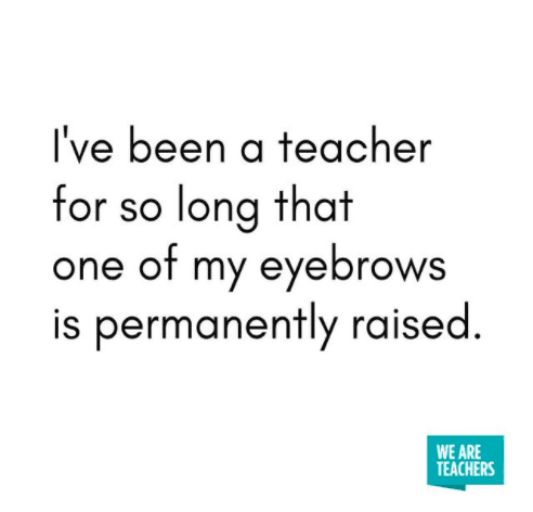 One of my eyebrows is permanently raised. -- Teacher Truth