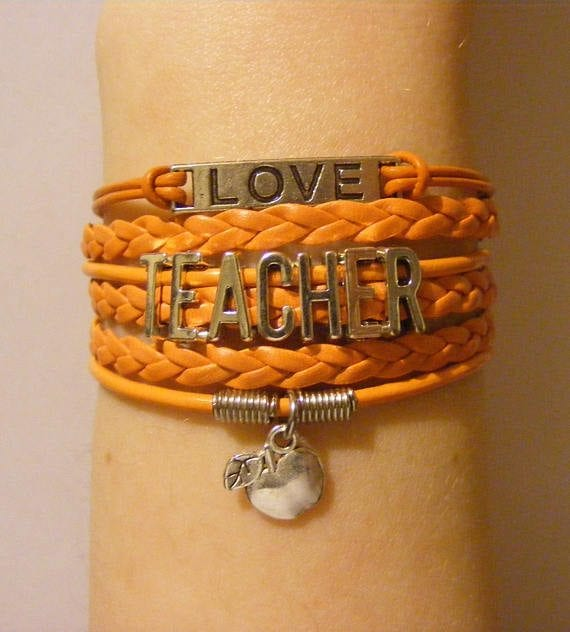 teacher jewelry - leather wrap