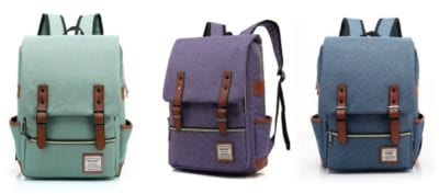 Canvas backpacks with side pockets and front flap, in turquoise, purple, and blue (Best Teacher Bags)
