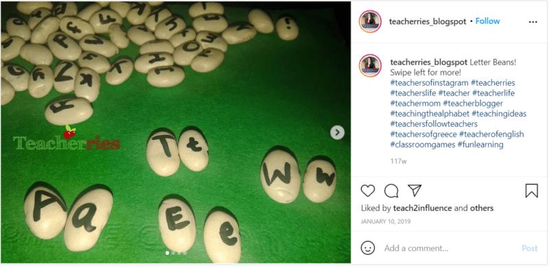 Still of alphabet activity ideas from Instagram teacherries_blogspot