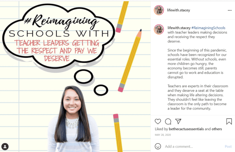 Teacher with cartoon pencils and thought bubbles asking for respect and better pay