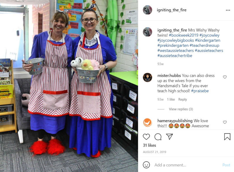 Two teachers dressed as the character Mrs. Wishy Washy in a classroom