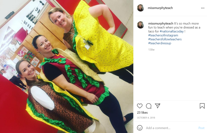 Teachers dressed up in taco costumes in classroom