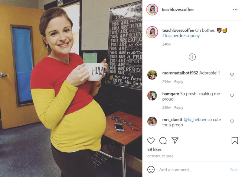 """Pregnant teacher using her baby bump to create a Winnie the Pooh costume, holding a mug that says """"Hunny"""" in a classroom"""